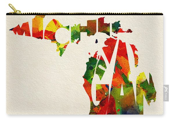 Michigan Typographic Watercolor Map Carry-all Pouch