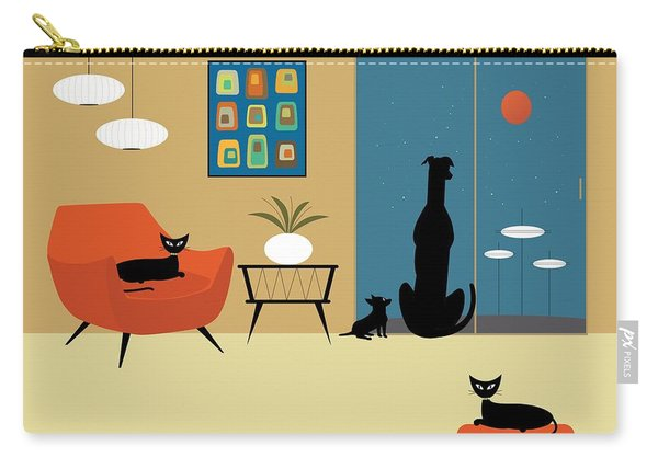 Mid Century Dogs And Cats Carry-all Pouch