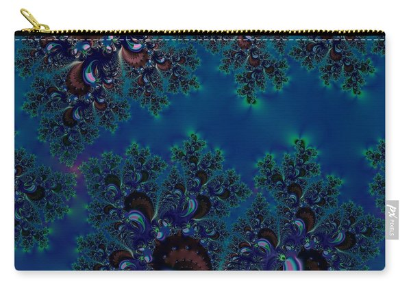 Midnight Blue Frost Crystals Fractal Carry-all Pouch
