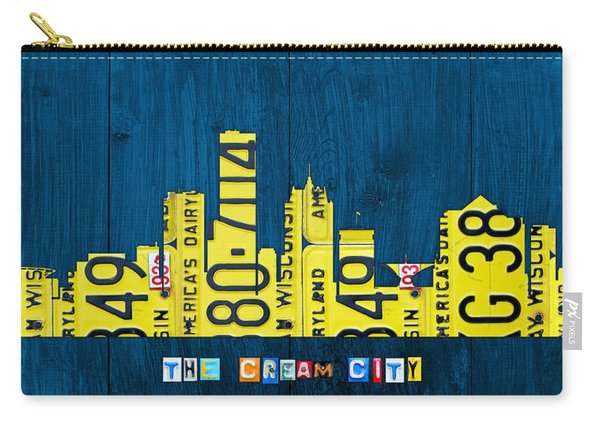 Milwaukee Wisconsin City Skyline License Plate Art Vintage On Wood Carry-all Pouch