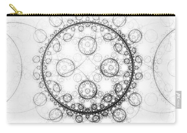Minimalist Fractal Art Black And White Circles Carry-all Pouch