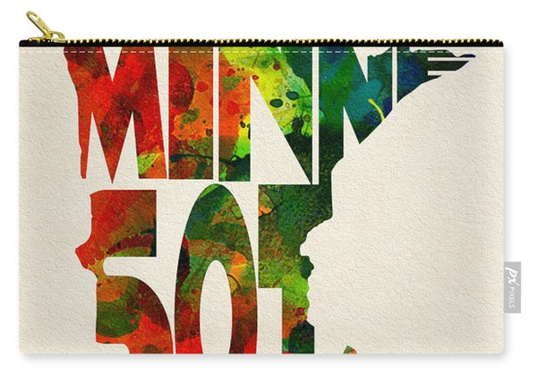 Minnesota Typographic Watercolor Map Carry-all Pouch