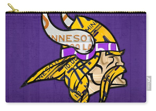 Minnesota Vikings Football Team Retro Logo Minnesota License Plate Art Carry-all Pouch