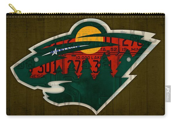 Minnesota Wild Retro Hockey Team Logo Recycled Land Of 10000 Lakes License Plate Art Carry-all Pouch