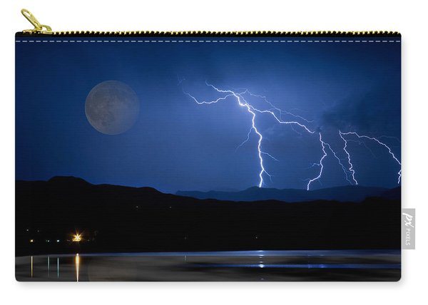 Misty Lake Full Moon Lightning Storm Fine Art Photo Carry-all Pouch
