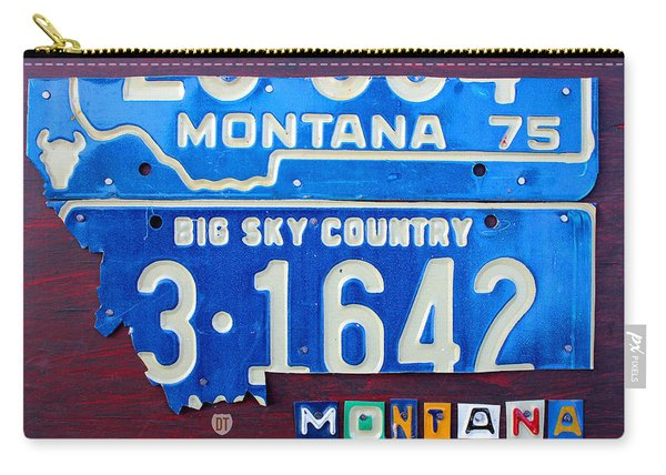 Montana License Plate Map Carry-all Pouch