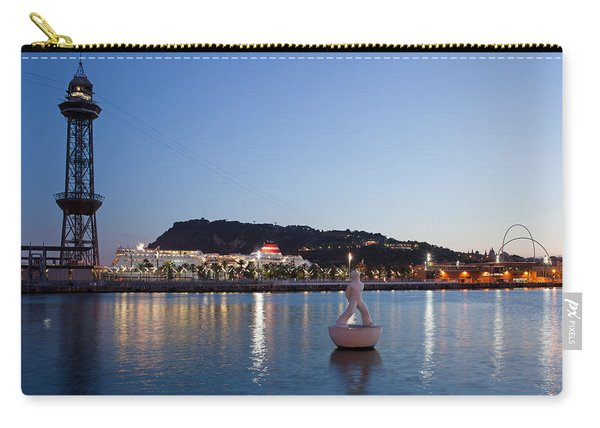 Montjuic And Torre Jaume I At Dusk In Barcelona Carry-all Pouch