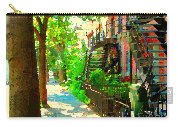 Montreal Art Colorful Winding Staircase Scenes Tree Lined Streets Of Verdun Art By Carole Spandau Carry-all Pouch