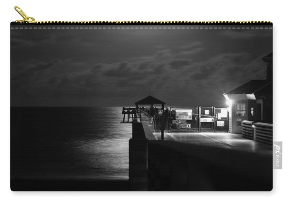 Moonlit Pier Black And White Carry-all Pouch