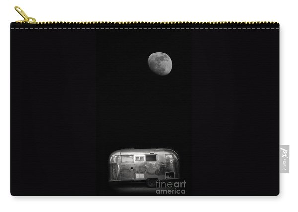 Carry-all Pouch featuring the photograph Moonrise Over Airstream by Edward Fielding