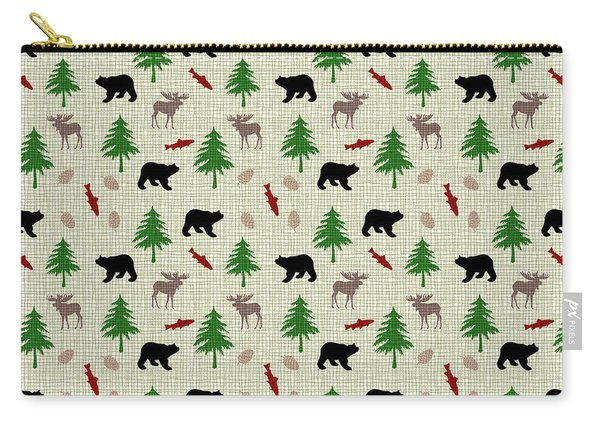Moose And Bear Pattern Carry-all Pouch
