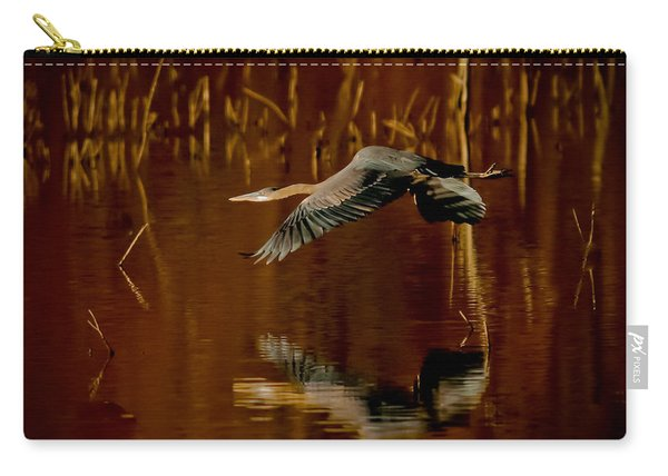 Heron Flying Through Rusty Bog Carry-all Pouch