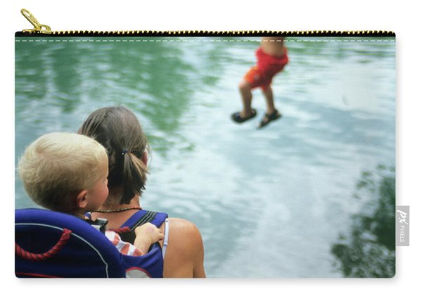 Mother And Son Watch Boy Jump In Water Carry-all Pouch