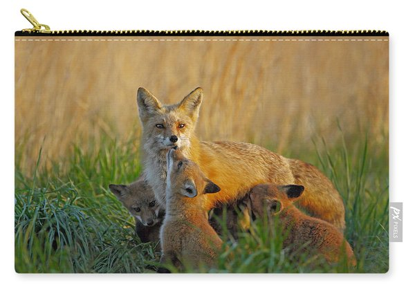 Mother Fox And Kits Carry-all Pouch