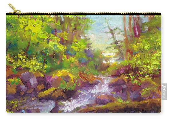 Carry-all Pouch featuring the painting Mother's Day Oasis - Woodland River by Talya Johnson
