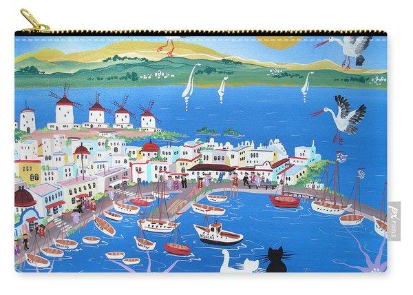 Mykonos, Greece, 2012 Acrylic On Canvas Carry-all Pouch