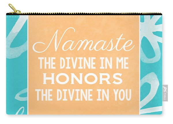 Namaste Watercolor Flowers- Blue Carry-all Pouch