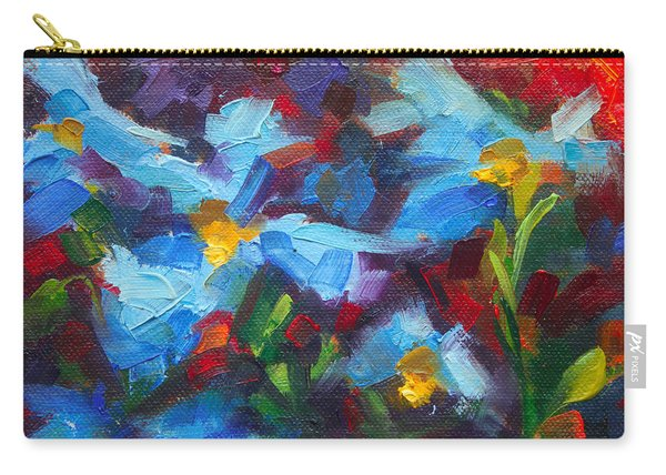 Carry-all Pouch featuring the painting Nature's Palette - Himalayan Blue Poppy Oil Painting Meconopsis Betonicifoliae by Talya Johnson