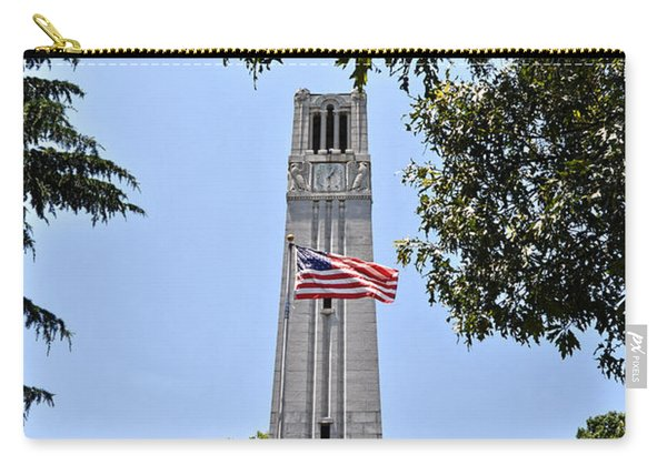 Nc State Memorial Bell Tower And Us Flag Carry-all Pouch
