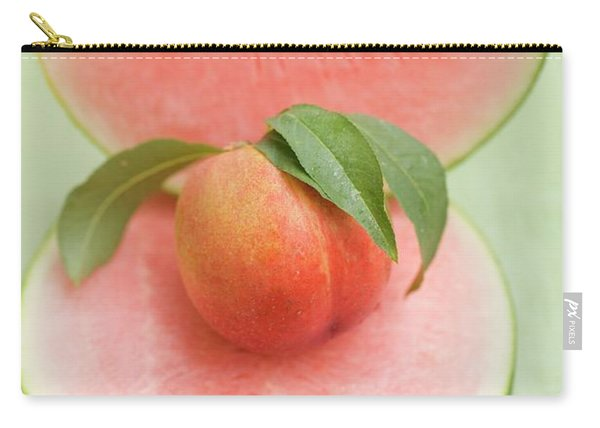 Nectarine With Leaves, Slice And Wedge Of Watermelon Carry-all Pouch