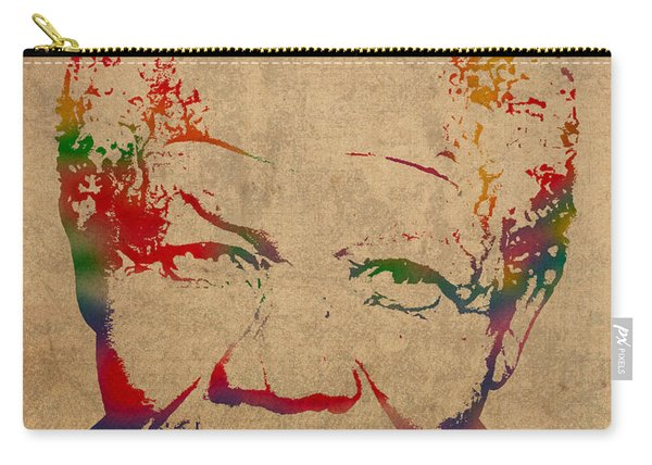 Nelson Mandela Watercolor Portrait On Worn Distressed Canvas Carry-all Pouch