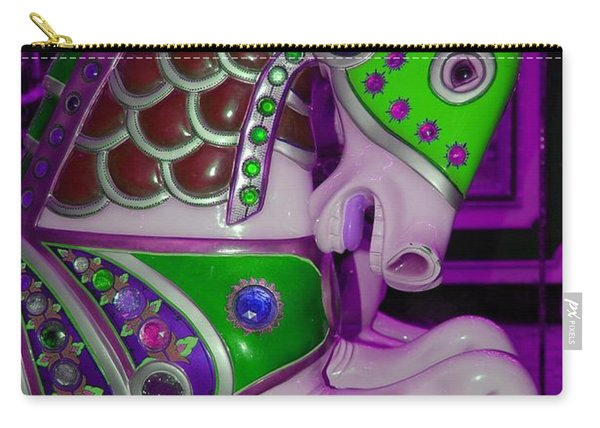 Neon Purple Carousel Horse Carry-all Pouch