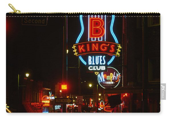 Neon Sign Lit Up At Night, B. B. Kings Carry-all Pouch