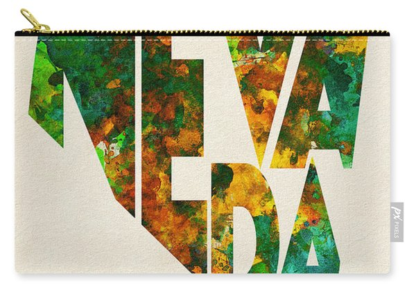 Nevada Typographic Watercolor Map Carry-all Pouch