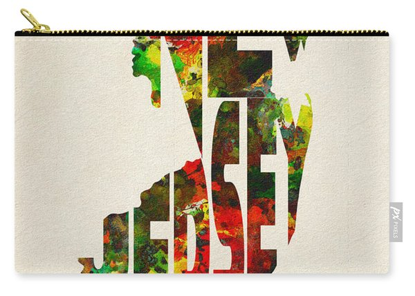 New Jersey Typographic Watercolor Map Carry-all Pouch