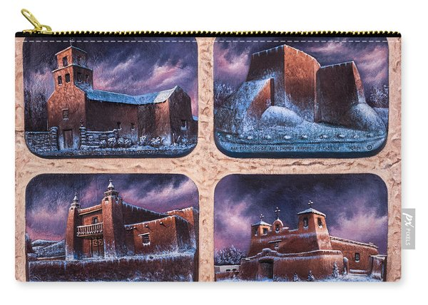 New Mexico Churches In Snow Carry-all Pouch