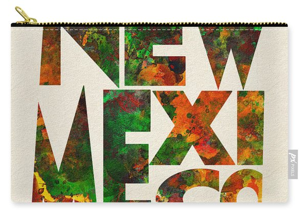 New Mexico Typographic Watercolor Map Carry-all Pouch