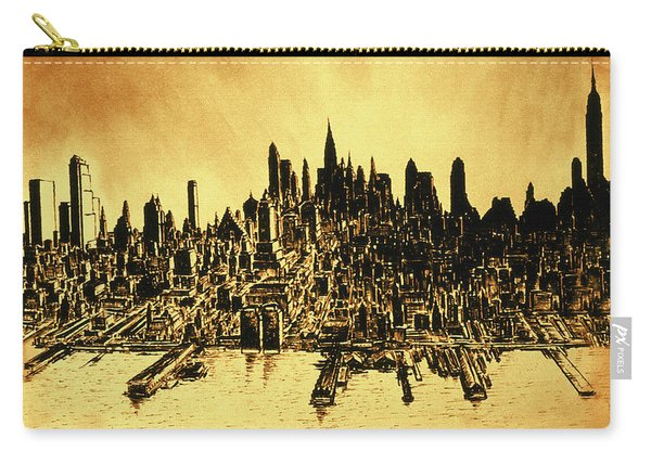 New York Skyline 78 - Mid Manhattan Ink Watercolor Painting Carry-all Pouch