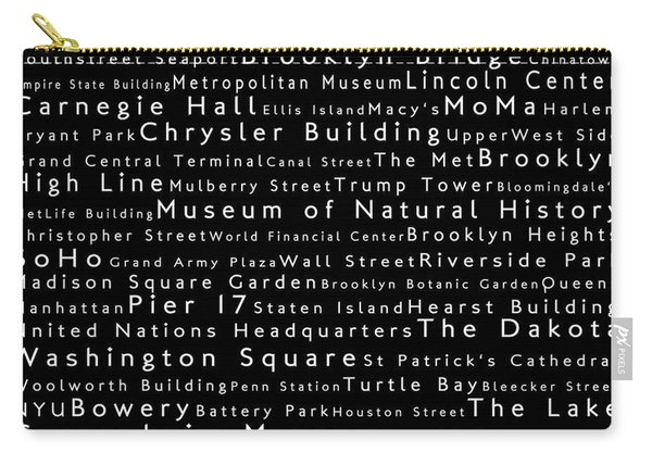 New York City In Words Black Carry-all Pouch