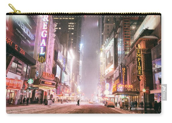 New York City - Winter Night - Times Square In The Snow Carry-all Pouch