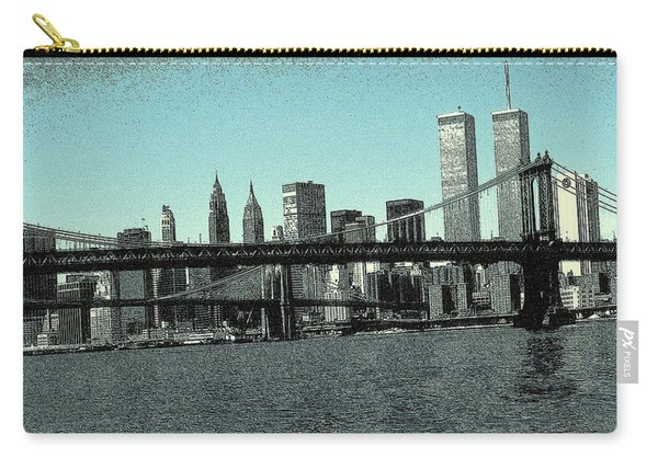 New York Downtown Manhattan Skyline - Blue Panorama Carry-all Pouch
