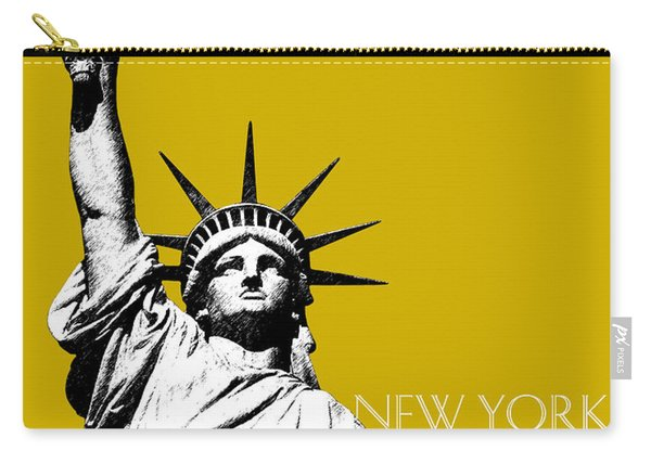 New York Skyline Statue Of Liberty - Gold Carry-all Pouch
