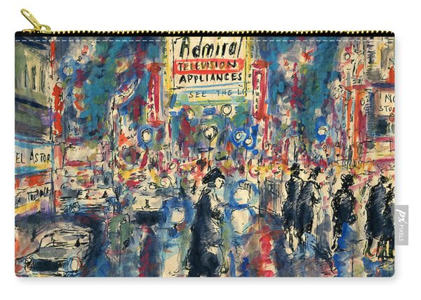 New York Times Square 79 - Watercolor Art Painting Carry-all Pouch