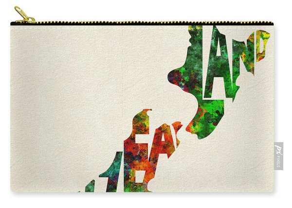 New Zealand Typographic Watercolor Map Carry-all Pouch
