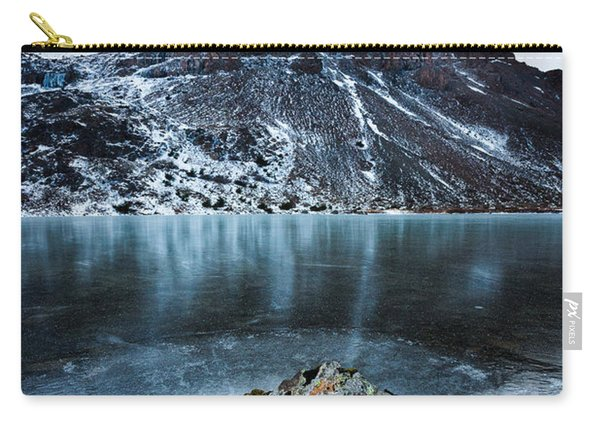 Carry-all Pouch featuring the photograph Frozen Mountain Lake by Tim Newton