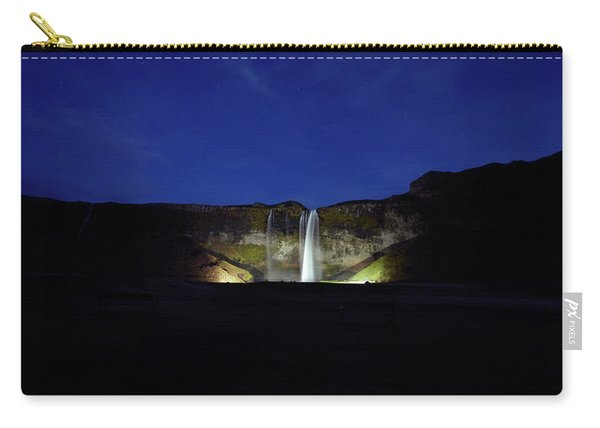 Night Shot Of Seljalandsfoss Carry-all Pouch