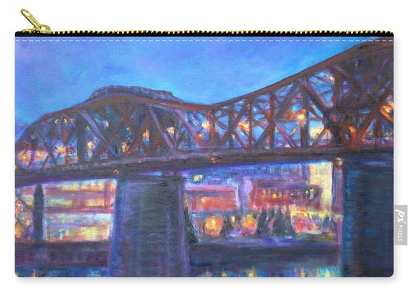 City At Night Downtown Evening Scene Original Contemporary Painting For Sale Carry-all Pouch