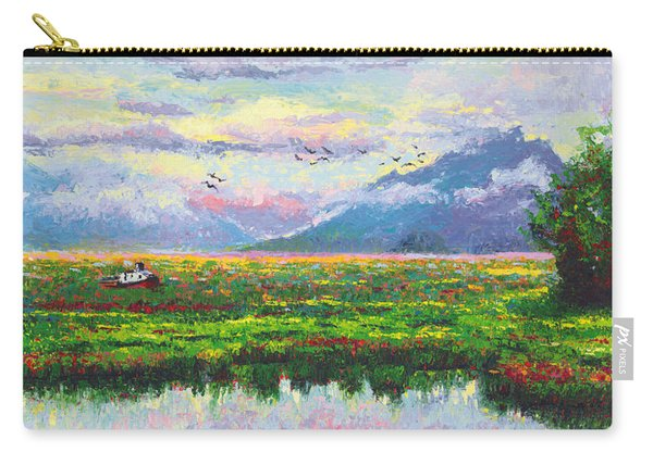Carry-all Pouch featuring the painting Nomad - Alaska Landscape With Joe Redington's Boat In Knik Alaska by Talya Johnson