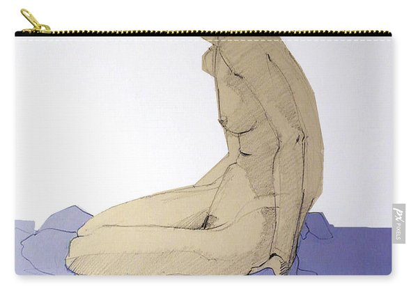 Nude Figure In Blue Carry-all Pouch