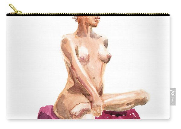 Nude Model Gesture Xi Royal Garnet Carry-all Pouch