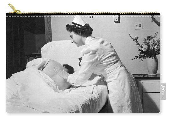Nurse Gives Patient Rub Down Carry-all Pouch