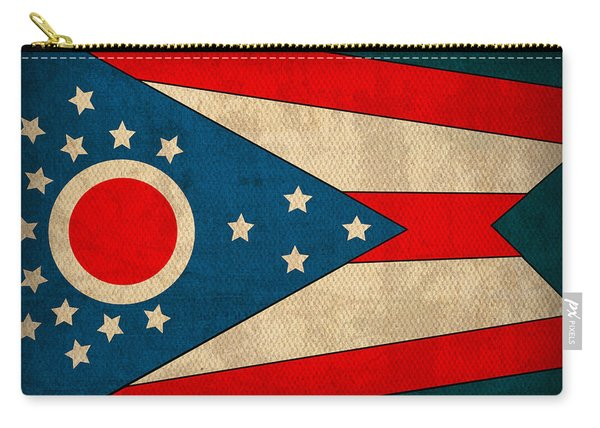 Ohio State Flag Art On Worn Canvas Carry-all Pouch