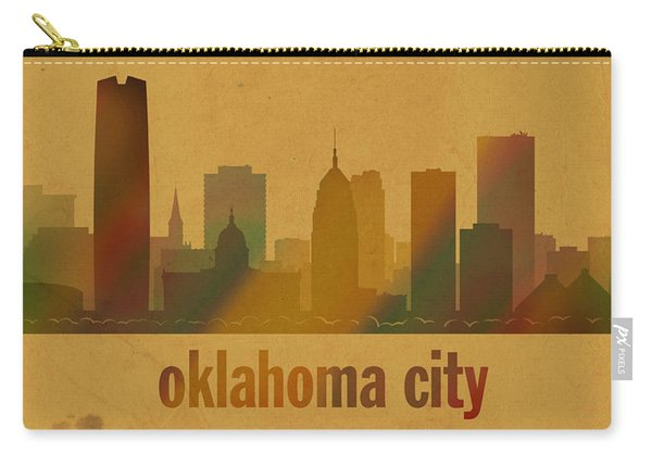 Oklahoma City Skyline Watercolor On Parchment Carry-all Pouch