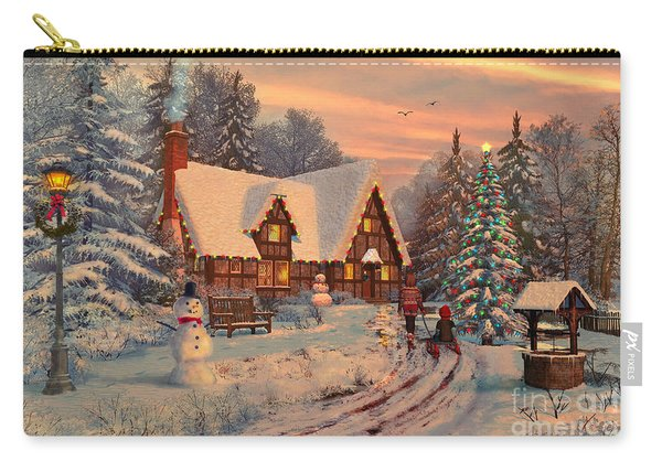 Old Christmas Cottage Carry-all Pouch