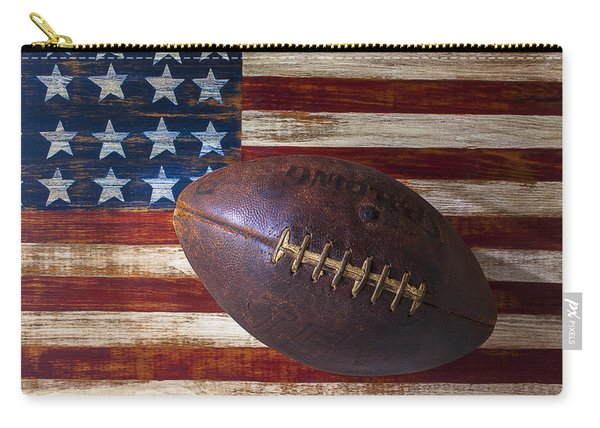 Old Football On American Flag Carry-all Pouch