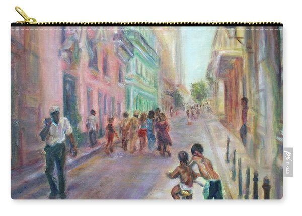 Old Havana Street Life - Sale - Large Scenic Cityscape Painting Carry-all Pouch